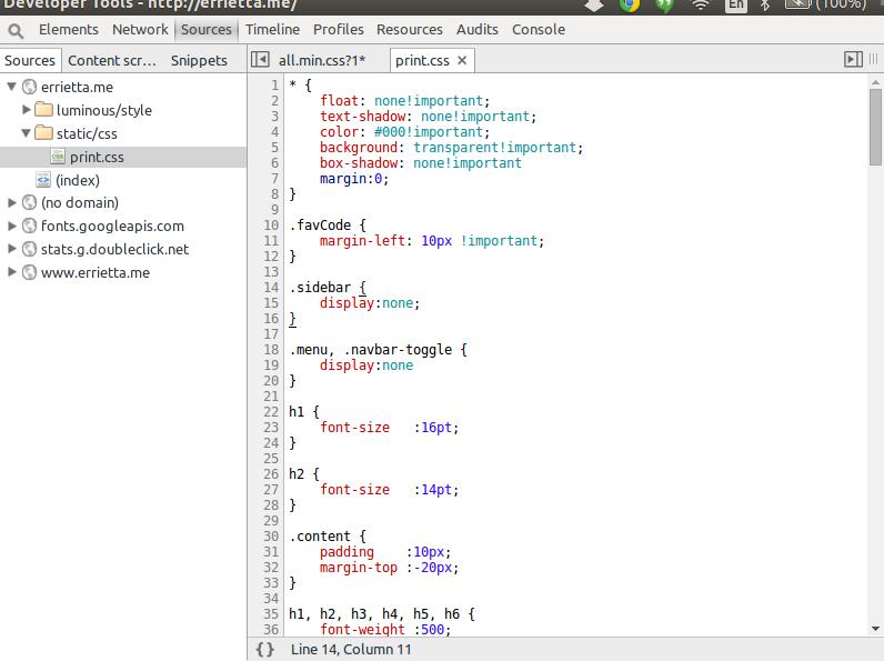 Chrome style editor