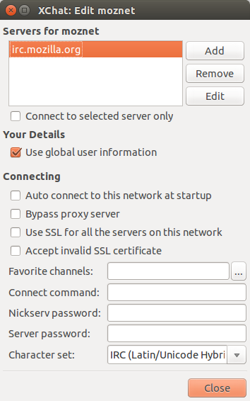 Adding moznet as a network to xchat