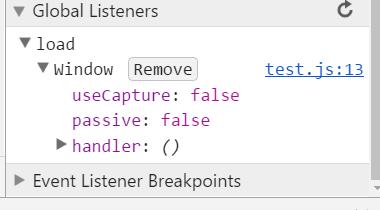 JS debugger - event lsteners