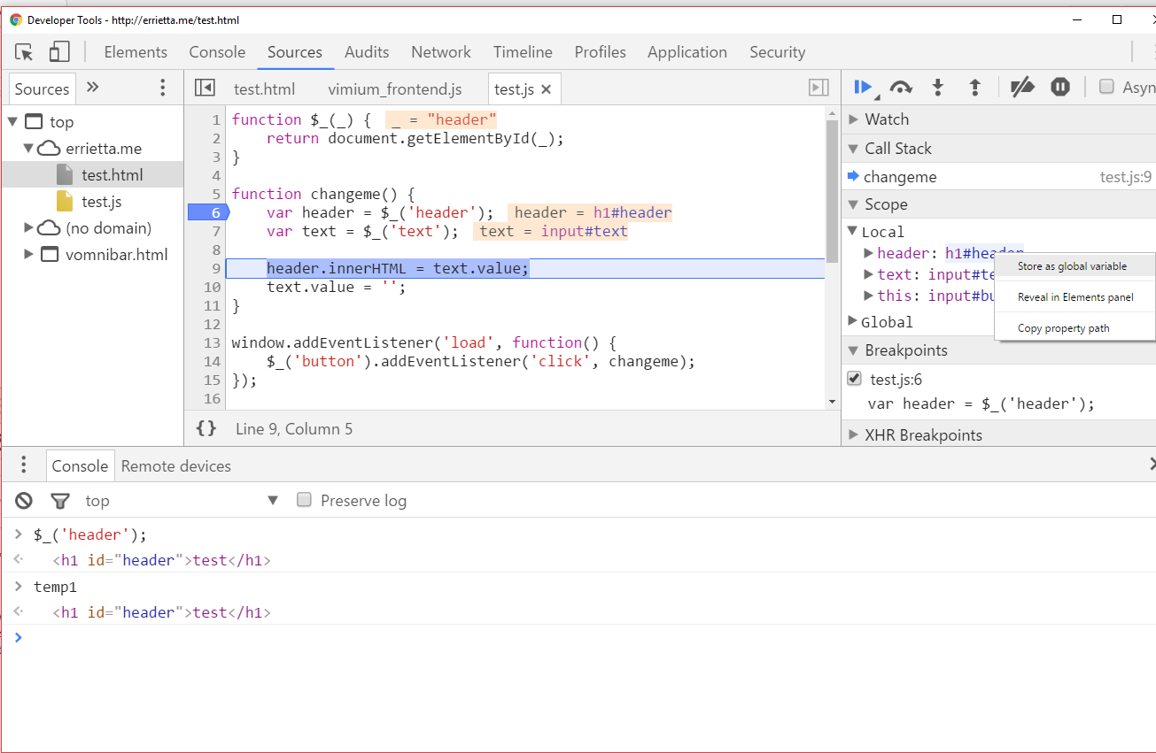 Debugging with the JavaScript debugger
